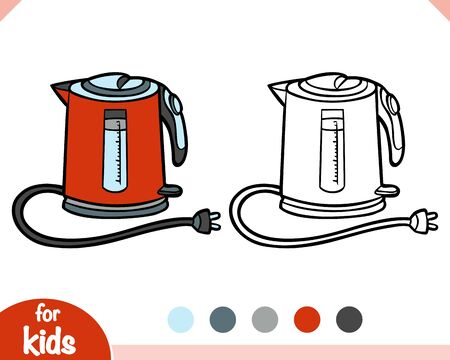 Coloring book for children. Electric Kettle. Black and white cartoon kitchen appliances Zdjęcie Seryjne - 132099601