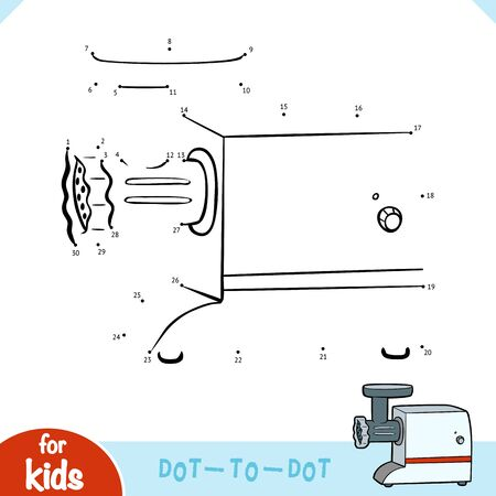 Numbers game, education dot to dot game for children, Electric Meat Grinder  イラスト・ベクター素材