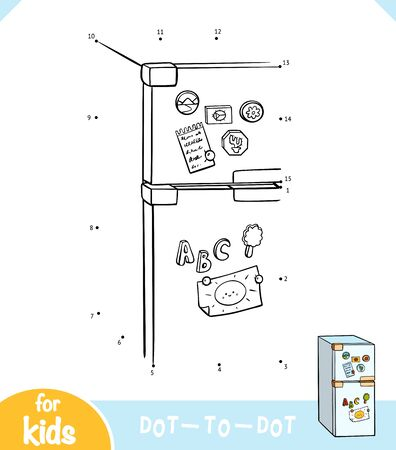 Numbers game, education dot to dot game for children, Refrigerator Ilustração