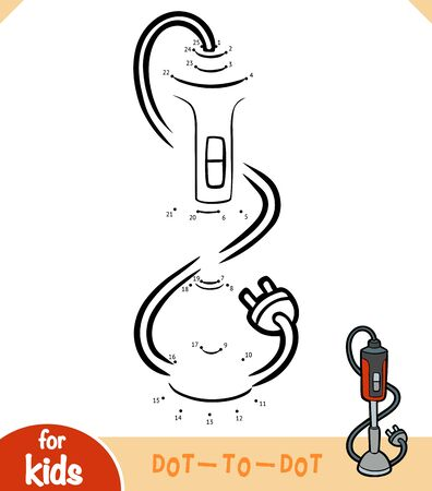 Numbers game, education dot to dot game for children, Hand blender Illustration