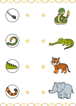 Matching game, education game for children. Find the right parts, set of cartoon animals. Elephant, Crocodile, Rattle snake, Tiger