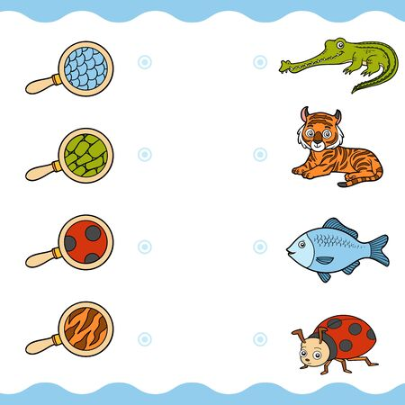 Matching game, education game for children. Find the right parts, set of cartoon animals. Crocodile, tiger, fish, ladybug
