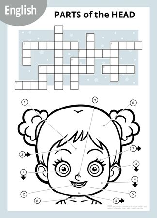 Vector black and white crossword in English, education game for children about the human body. My head parts for a girl.
