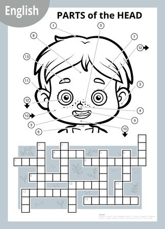 Vector black and white crossword in English, education game for children about the human body. My head parts for a boy.
