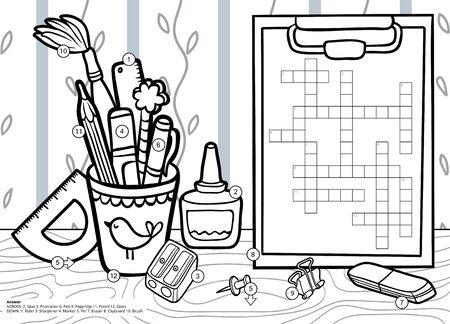 Vector black and white crossword in English, education game for children. Cartoon stationery set and objects for school