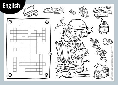 Vector black and white crossword in English, education game for children. Cartoon artist girl and objects for drawing