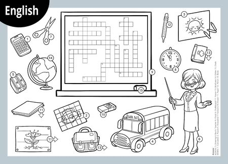 Vector black and white crossword in English, education game for children. Cartoon teacher and objects for school