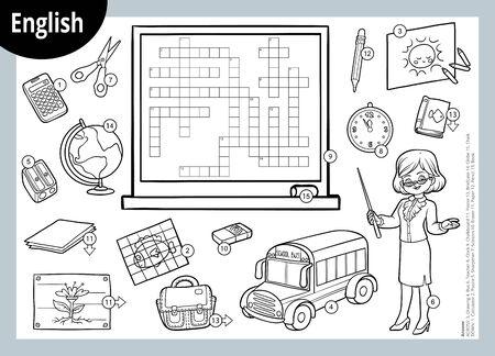 Wektor czarno-biała krzyżówka w języku angielskim, gra edukacyjna dla dzieci. Nauczyciel kreskówki i przedmioty do szkoły