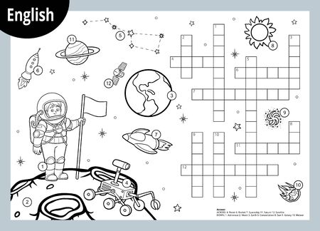 Vector black and white crossword in English, education game for children about space. Cartoon astronaut and cosmic objects Illusztráció