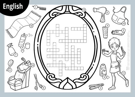 Vector black and white crossword in English, education game for children. Cartoon hairdresser and objects for hair cutting Çizim