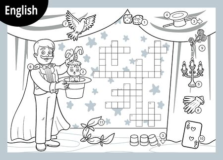 Vector crossword in English, education game for children. Cartoon Illusionist and objects for magic tricks Illusztráció