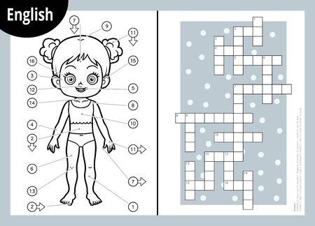 Vektor-Schwarz-Weiß-Kreuzworträtsel in englischer Sprache, Bildungsspiel für Kinder über den menschlichen Körper. Meine Körperteile für ein Mädchen.