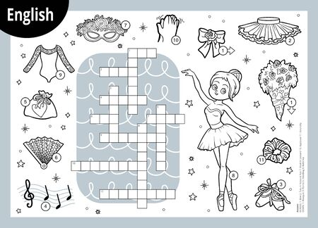 Vector black and white crossword in English, education game for children. Cartoon ballerina and dancing objects Ilustracja