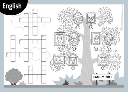 Vector black and white crossword in English, education game for children about family members. Cartoon family tree with images of people in frames Иллюстрация