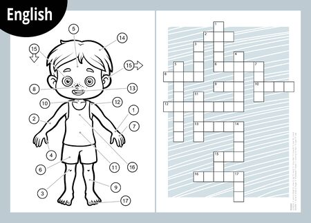 Vector black and white crossword in English, education game for children about the human body. My body parts for a boy