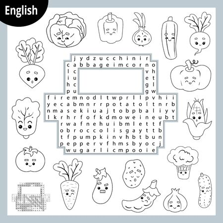 Word search puzzle. Cartoon set of vegetables, cucumber, tomato, potato, pepper, carrot. Education game for children. Vector black and white worksheet for learning English