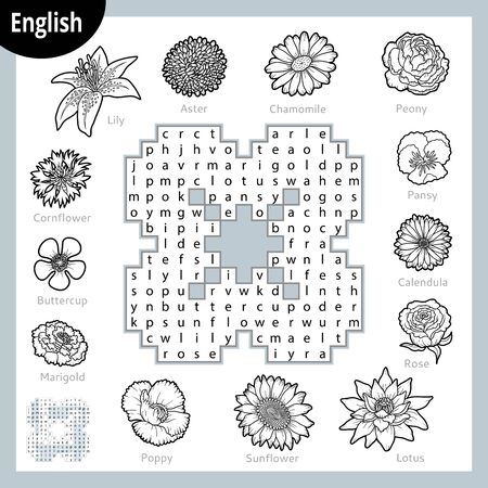 Word search puzzle. Cartoon set of flowers, poppy, sunflower, lily, rose, peony. Education game for children. Vector colour worksheet for learning English Ilustracja