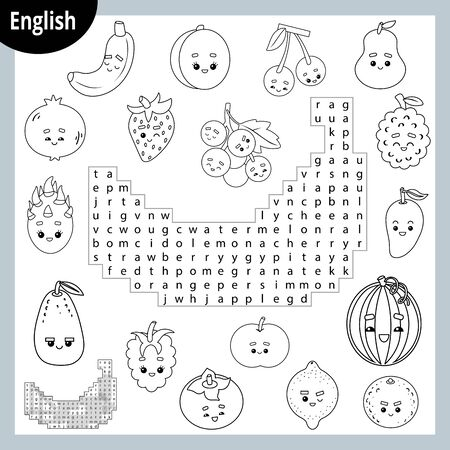 Word search puzzle. Cartoon set of fruits and berries, banana, orange, apple, pear, watermelon. Education game for children. Vector black and white worksheet for learning English