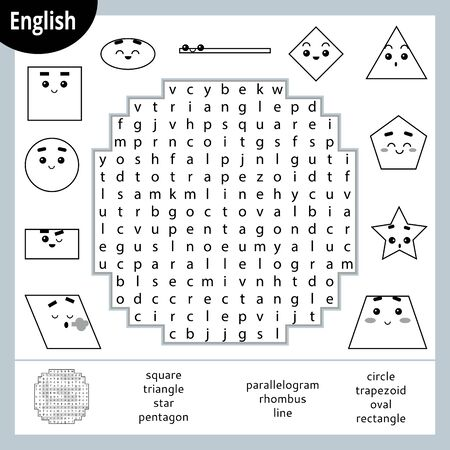Word search puzzle. Cartoon set of geometric shapes, circle, square, rectangle, triangle. Education game for children. Vector black and white worksheet for learning English