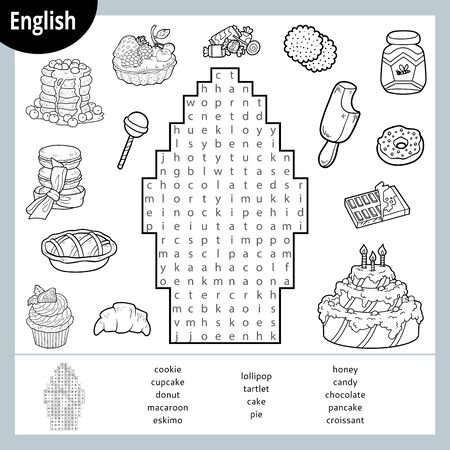 Word search puzzle. Cartoon set of sweets, cake, candies, ice cream, chocolate. Education game for children. Vector black and white worksheet for learning English