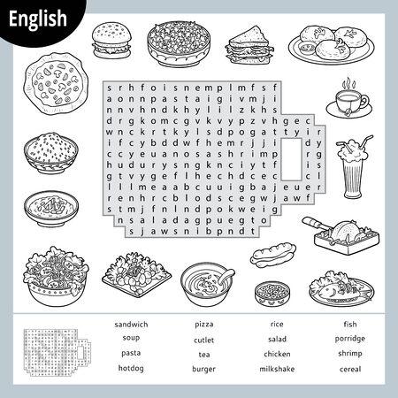 Puzzle wyszukiwania słowa. Kreskówka zestaw żywności, burger, pizza, makaron, sałatka. Gra edukacyjna dla dzieci. Wektor czarno-biały arkusz do nauki języka angielskiego