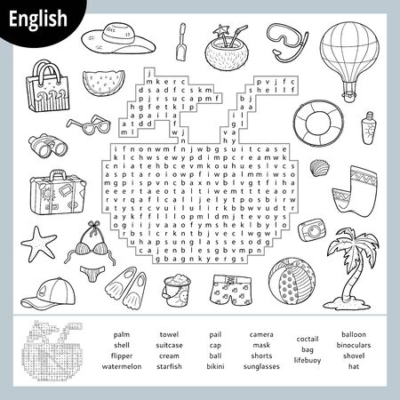 Word search puzzle. Cartoon set of summer and holidays objects, palm, cocktail, bikini, ball. Education game for children. Vector black and white worksheet for learning English Иллюстрация
