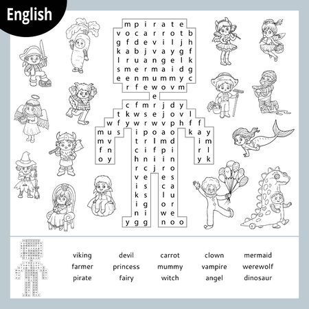 Word search puzzle. Cartoon characters, Halloween costumes, mermaid, pirate, vampire, fairy, witch. Education game for children. Vector black and white worksheet for learning English