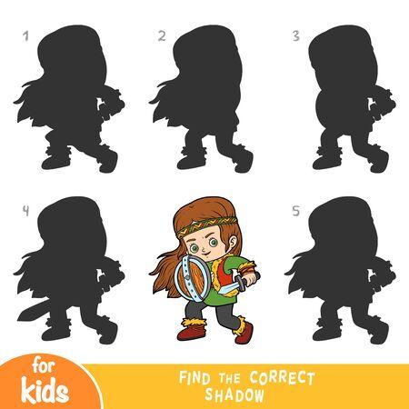 Trova l'ombra corretta, gioco educativo per bambini, ragazza vichinga con scudo e spada Vettoriali
