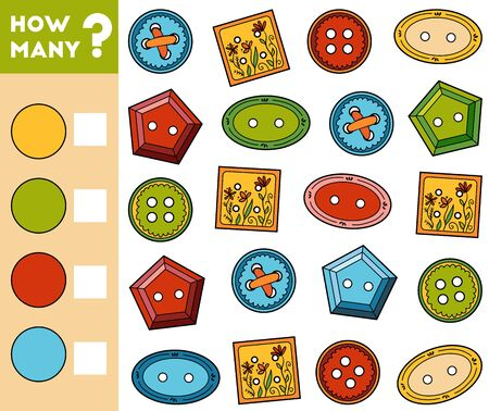 Counting Game for Preschool Children. Educational a mathematical game. Count how many Clothes Buttons and write the result!