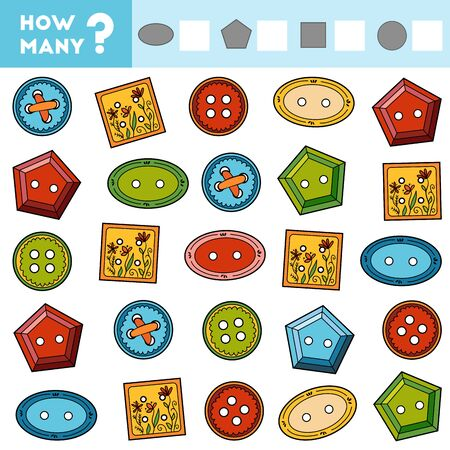 Counting Game for Preschool Children. Educational a mathematical game. Count how many Clothes Button and write the result!