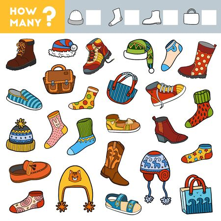 Counting Game for Preschool Children. Educational a mathematical game. Count how many boots, socks, hats, bags and write the result! Illustration