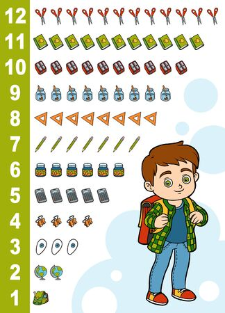 Educational poster for children about numbers from one to twelve. Vector cartoon illustration. Learning counts for preschoolers. Boy and school items Иллюстрация