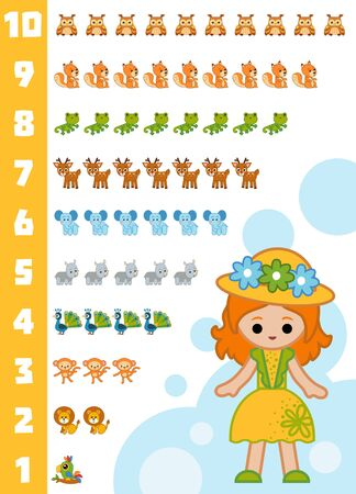 Educational poster for children about numbers from one to ten. Vector cartoon illustration. Learning counts for preschoolers. Set of animals