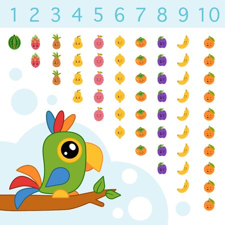 Educational poster for children about numbers from one to ten. Vector cartoon illustration. Learning counts for preschoolers. Set of tropical fruits