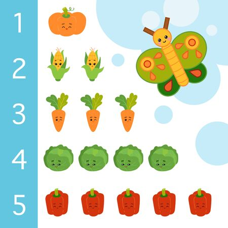 Educational poster for children about numbers from one to five. Vector cartoon illustration. Learning counts for preschoolers. Butterfly and vegetables