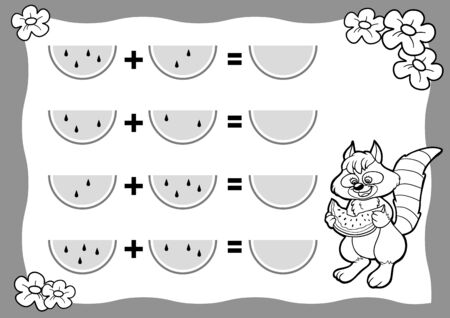 Counting Game for Preschool Children. Educational a mathematical game. Raccoon and watermelon. Count the numbers in the picture and write the result. Addition worksheets.