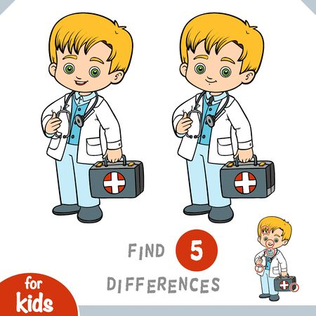 Find differences, educational game for children, little boy doctor Çizim