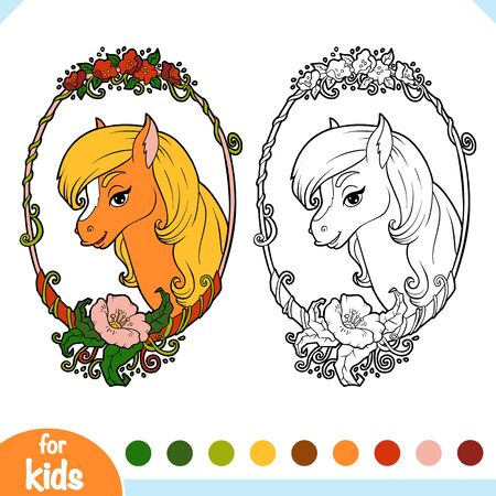 Coloring book for children, Cute horse in a floral frame