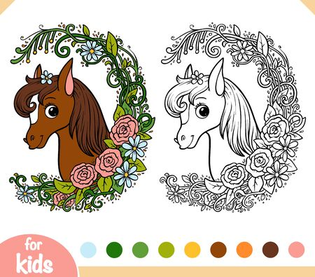 Coloring book for children, Cute pony in a floral frame