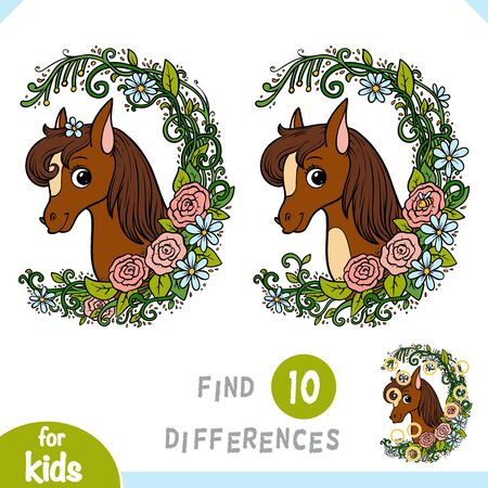 Find differences, educational game for children, Cute pony in a floral frame Vetores
