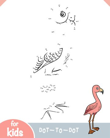 Numbers game, education dot to dot game for children, Greater Flamingo 向量圖像