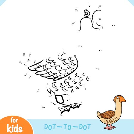 Numbers game, education dot to dot game for children, Goose