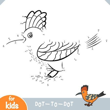 Numbers game, education dot to dot game for children, Hoopoe 向量圖像