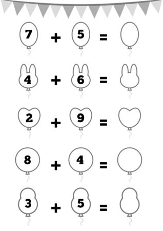 Counting Game for Preschool Children. Educational a mathematical game. Addition worksheets, party balloons. Count the numbers in the picture and write the result.  Иллюстрация