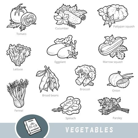 Black and white set of vegetables, collection of vector nature items with names in English. Cartoon visual dictionary for children about plants Illustration