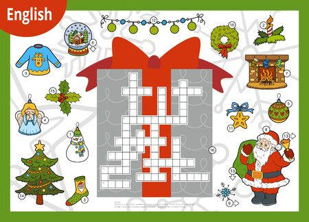 Vector colorful crossword in English, education game for children. Santa Claus and Christmas items Stok Fotoğraf - 133103857