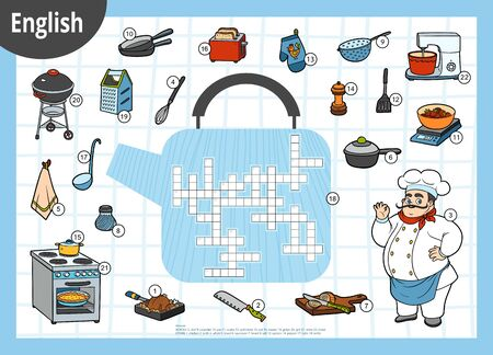 Vector colorful crossword in English, education game for children. Chef and set of kitchen items Stok Fotoğraf - 133103479