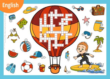 Vector colorful crossword in English, education game for children. Young surfer and tropical vacation set