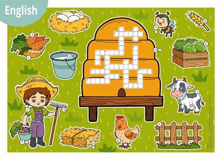 Vector colour crossword in English, education game for children. Cartoon farm set Vector Illustration