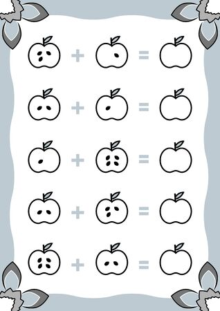 Counting Game for Preschool Children. Addition worksheets with apples. Educational a mathematical game. Count the items in the picture and write the result.